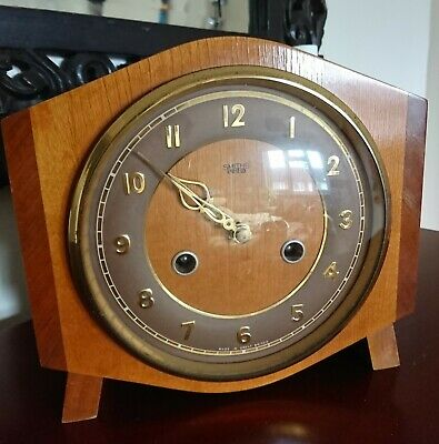 Smiths Enfield 1950'S Vintage 8 Day Mantel Clock With Key & Pendulum