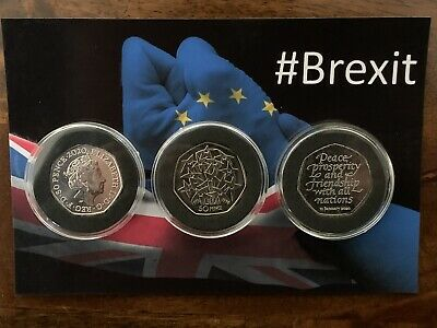 🇬🇧1998 EEC Anniversary Fireworks 50p & 2020 BREXIT 50p Coins.(3x Coin Set).NEW