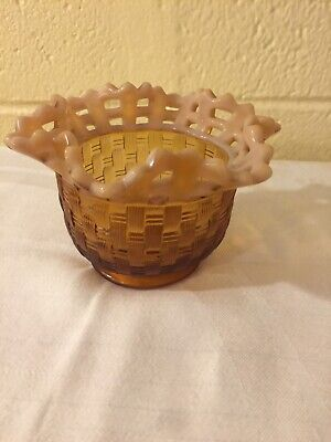 Fenton Glass Basketweave Fluted Bowl Amber Basketweave Top