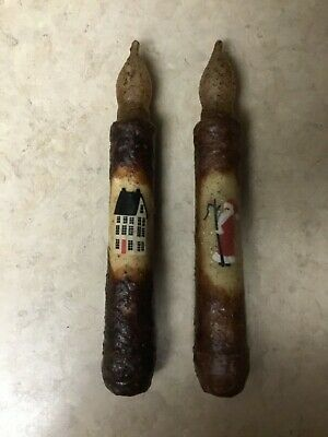 "Primitive 6"" - 6.5"" TIMER Battery Operated LED Taper Flicker Candle Christmas"