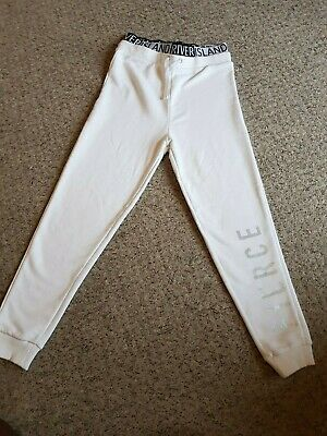 Girls River Island White 'Fierce' Jogging Tracksuit Trousers bottoms Age 7-8 yrs
