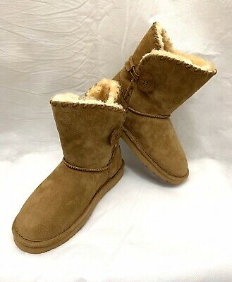 LAMO Grey Suede Ankle Strap Faux Fur Cresson Pull on Boots NEW