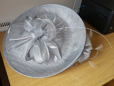 Grey Sinamay Hatinator. Hat. Wedding, Special Occassion