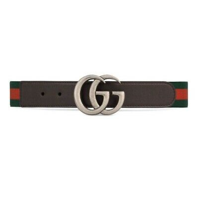 Brand New Gucci Children's Brown Leather Web GG Belt NWT Size Medium $195
