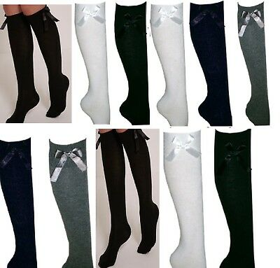 Girls School knee high Socks 3 Pairs Navy ,Black,Grey & Blue Size 7-7,12-9,9-3