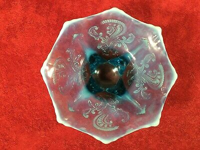 Antique Northwood/Dugan/Jefferson? Blue Opalescent Footed Bowl