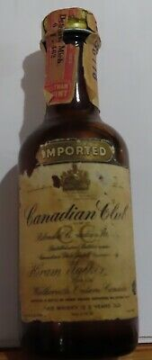1969 Mini Liquor Bottle IMPORTED CANADIAN CLUB, Hiram Walker , stamps