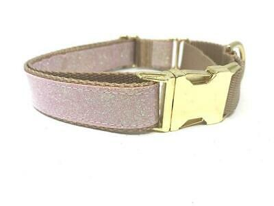 Pink + Gold Sparkly Glitter Martingale Dog Collar W/ Buckle For Girls, Personali