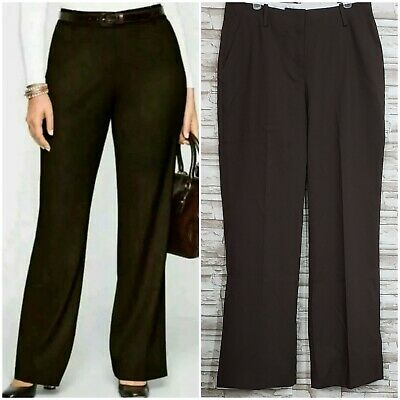 NWT Talbots Heritage Wide Leg Brown Slacks Trouser Pants Stretch size 6 Career