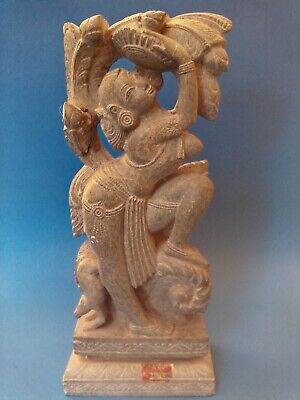 """Large Hand Carved Soap Stone Hindu Goddess Diety Idol Figurine Statue 12"""" Tall"""