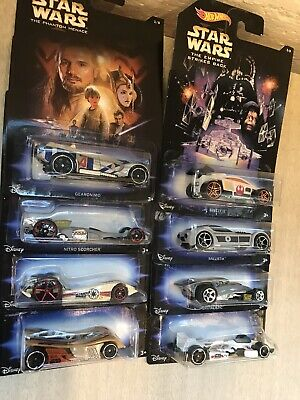 Hot Wheels Disney Star Wars Complete Set of 8 Die Cast Cars 2014