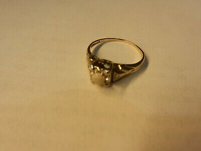 Vintage Ladies Opal Ring with Diamond Accents 14 K size 6
