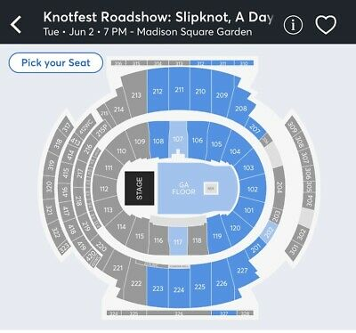 Knotfest Roadshow Slipknot Tickets 6/02/2020 Msg Nyc Pit Tix General Admission