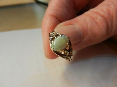 Ladies dainty natural opal ring 14K size 4.5