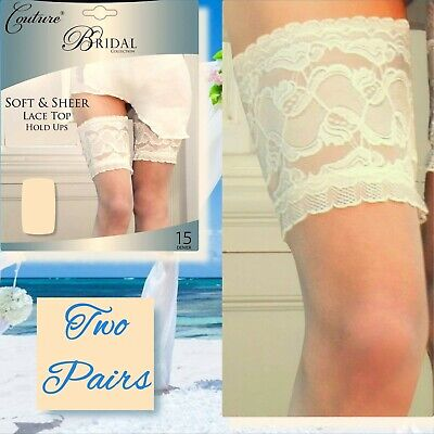 Couture Bridal Collection Soft /& Sheer Lace Top Hold Ups 15 Denier Ivory  White