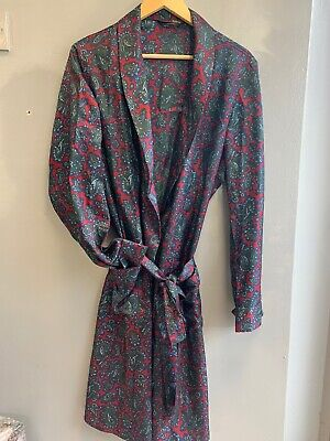 Vintage Paisley Satin Dressing Gown Smoking Jacket  M Wine/blue  Trycel