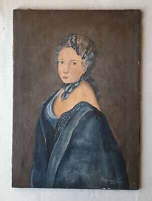 Original signed antique large canvas oil painting of a beautiful lady