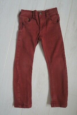 next boys slim fit skinny rust red straight adjustable waist jeans age 7 6-7 7-8