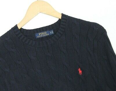 POLO RALPH LAUREN Crew Neck Cable Knit Cotton Blue Jumper Sweater Men Size M
