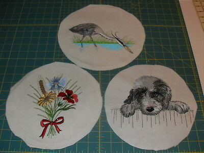 Lot Of 3 Machine Embroidery Quilt Blocks/Pieces: Heron, Dog, Flowers