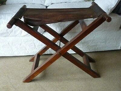 Old Wooden Folding Large Stool/Luggage Rack with Brown Leather seat section