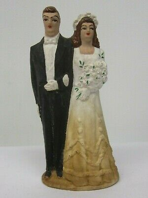 Old 1940's Bride Groom Marriage Wedding Cake Topper Hand Painted Bisque