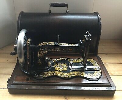 Antique Singer 12K Fiddle Bass Sewing Machine With Mother Of Pearl Inlay