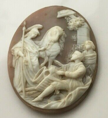 Large Stunning Antique Victorian Carved Loose Shell Cameo For Resetting