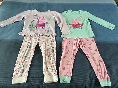 2 Pairs of Girls Peppa Pig Pyjamas - Age 4-5 M&S & TU - GC