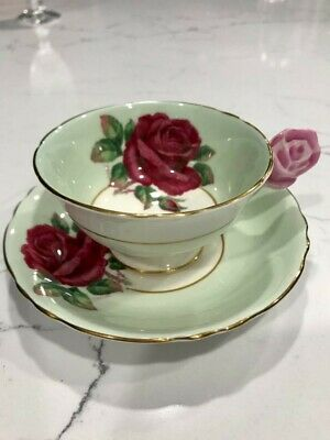 Paragon Fine Bone China Floating Red Rose Tea Cup and Saucer 1950's