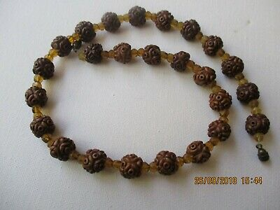 Antique  Chinese Necklace , Nut Pit /Wood Hand Carved Beads , 43 Cm In Length