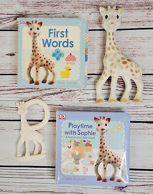 Vulli Sophie the Giraffe La Baby Teethers & Board Book Lot - Global Shipping