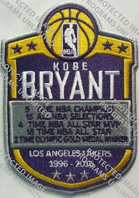Kobe Bryant Los Angeles Lakers Jersey Style Patch 1996-2016 Ship 2/24 Embroidery