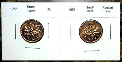 Regular /& Rotated Dies BU UNC Red!! Canada 1956 Small Cent 2 Coin Set
