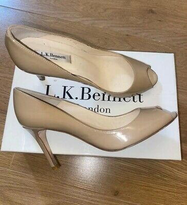Lk Bennett Size 5.5 Nude Patent Real Leather Peep Toe Heels Vgc With Box !