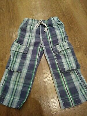 Mini Boden Children's Boys Checked Blue Green Cargo Trousers 3 years