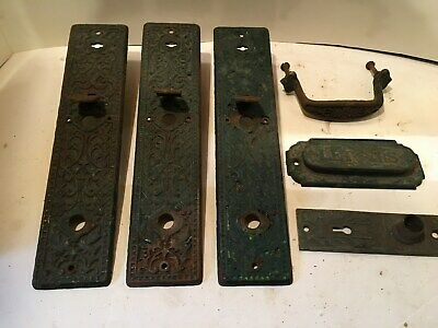 LOT OF 6 VINTAGE ANTIQUE VICTORIAN DOOR HARDWARE, PLATES, Letter Slot, Door Pull