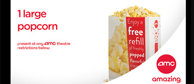 AMC Theatres 1 Large Popcorn - Exp 6/30/2020 - eDelivery - 100% Guaranteed
