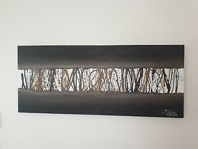 Shelena Russell (north east NSW) 2004 abstract artwork browns & white 120 x 50cm