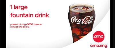 AMC Theatres 1 Large Drink - Exp 6/30/2020 - eDelivery - 100% Guaranteed