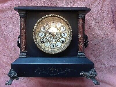Antique Sessions Wooden Mantle Mantel Clock Black And Gold 2 Pillar