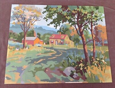 Vintage Paint By Numbers Painting, Country House