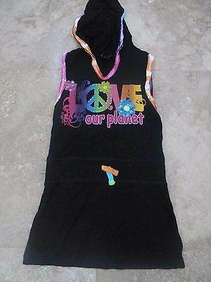 New Flowers By Zoe Black Love Our Planet Tunic / Dress With Hood Size Small