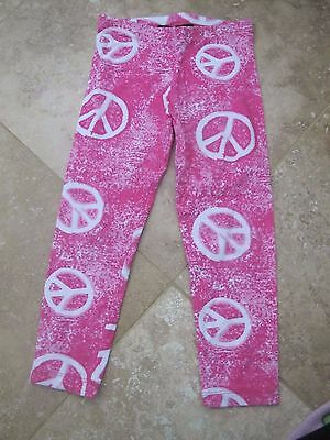 New Flowers By Zoe Pink Peace Sign Leggings Size 5