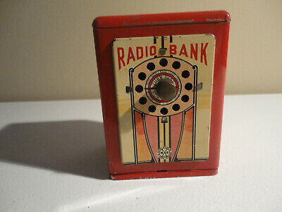"Vintage Marx Radio Bank, Plays Notes As You Turn Dial, 4 1/4"" High"