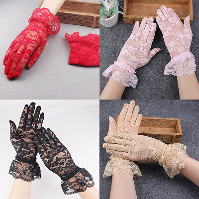 US 1-2 Pairs Sexy Lace Wrist Length Gloves w/ Ruffle Bride Wedding Prom Anti UV