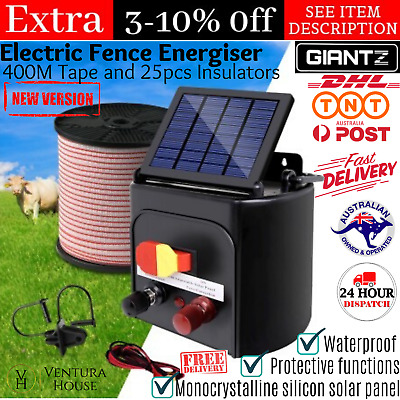 New 5km Solar Power Electric Fence Charger Kit 6V Farm Fencing Energizer Giantz
