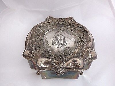 Figural Large Silverplate Box Victorian Jewelry Container Maiden Art Nouveau