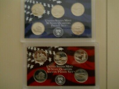 2005-S PROOF CLAD AND SILVER QUARTER SETS. NO BOXES OR COAs.  ####
