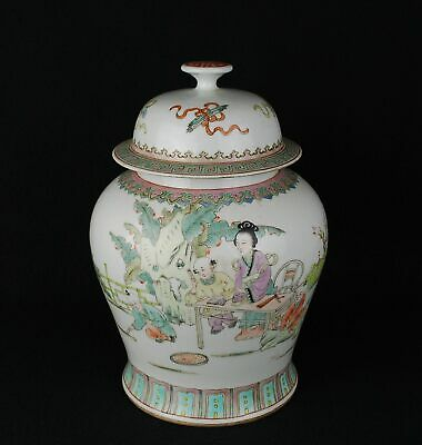 Chinese antique Qianjiang famille rose lid ginger jar Long Eliza signed children